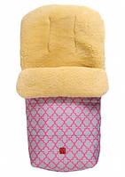 Конверт теплый из овчины Natura розовый с орнаментом Kaiser, фото 1
