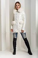 Эффектный зимний пуховик-куртка из экокожи Ana Vista 37 с натуральным мехом песца цвета молочный, фото 1