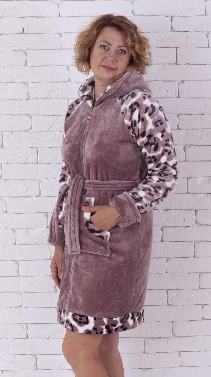 ca632ce0dcc60 Тёплый женский халат на молнии с капюшоном, цена 775 грн., купить в ...