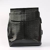 """Кожаный рюкзак-сумка (трансформер) с тиснением под змеиную кожу """"Питон Black"""""""