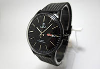 Часы стальные мужские Slava - Black - стальной браслет, черный цвет