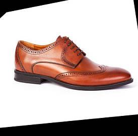 Мужские коричневые (рыжие) кожаные туфли (броги, оксфорды) ікос/ikos