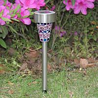 Газонный светильник на солнечной батарее, мозаика фиолетовый CAB95 , фото 1