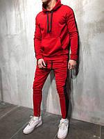 Мужской спортивный костюм со змейками красный