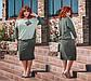"""Стильный женский костюм с юбкой в больших размерах """"Жаккард Комби Миди Карман"""" в расцветках, фото 4"""
