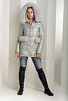 Эффектный зимний пуховик-куртка из экокожи Ana Vista 37 с натуральным мехом песца цвета жемчуг, фото 1