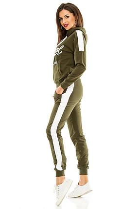 Женский спортивный костюм 429   оливковый, фото 2