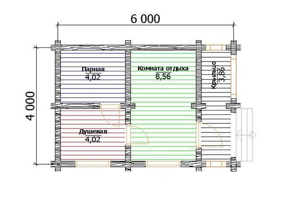 Баня из оцилиндрованного бревна 4х6 м план