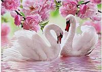 Алмазная вышивка 40*25 (Полная выкладка) Лебеди pink