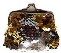 Кошелек на замочке-поцелуйчик золото-серебро, фото 1