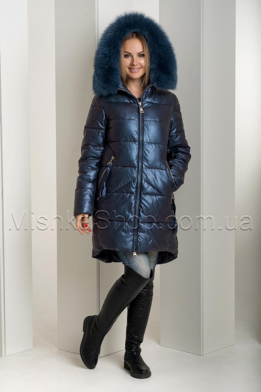 Зимний пуховик из экокожи больших размеров Ana Vista 10 с натуральным мехом песца синего цвета