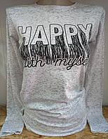 Батник з написом коттоновый жіночий HAPPY, фото 1