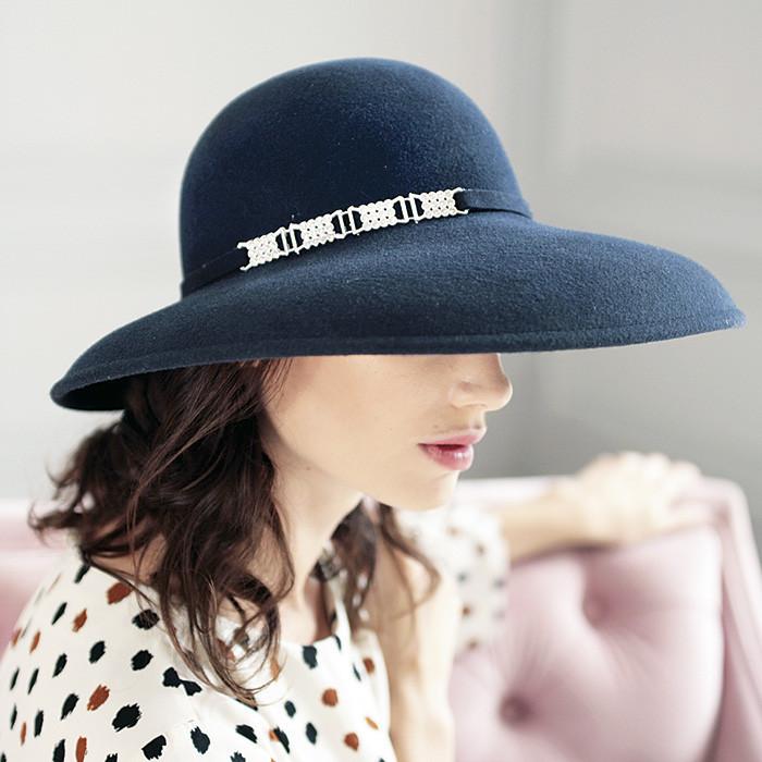 Черная фетровая шляпа из пуха или шерсти с большими  полями 12 см