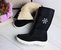 Дутики женские черные вышивкой снежинка Украина