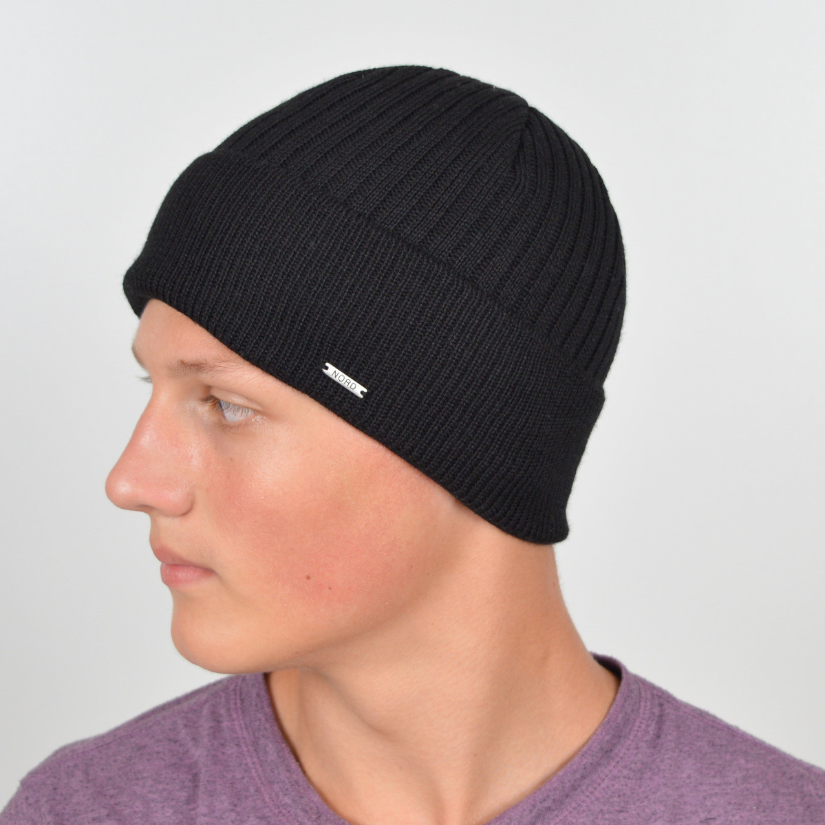 Мужская вязанная шапка NORD с отворотом черный