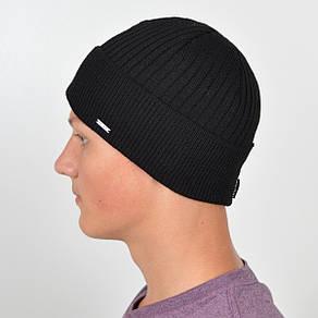 Мужская вязанная шапка NORD с отворотом черный, фото 2