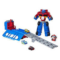 Трансформер гоночный Оптимус Прайм 38 см Transformers Rescue Bots Flip Racers Optimus Prime Race Track Trailer, фото 1