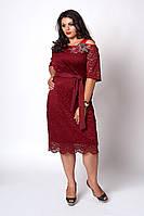 Мереживне жіноче плаття бордового кольору, фото 1