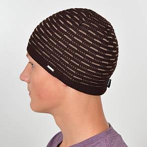 Мужская вязанная шапка NORD коричневый+беж, фото 2