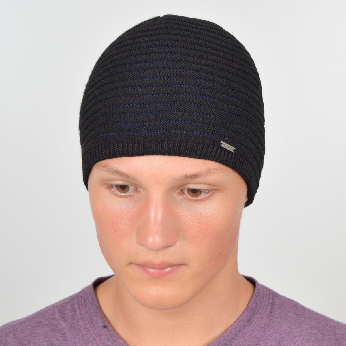 Мужская вязанная шапка NORD черный + синий