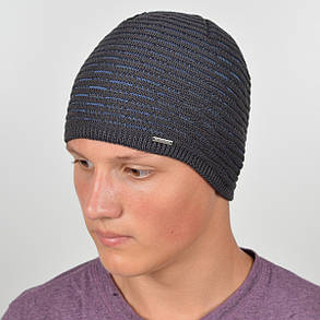 Мужская вязанная шапка NORD серый + джинс, фото 2
