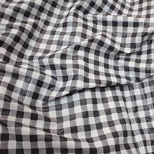 Плащевая ткань лаке принт клетка черная