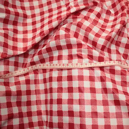 Плащевая ткань лаке принт клетка красная, фото 2