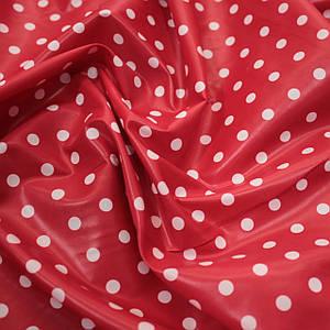 Плащевая ткань лаке принт горох на красном