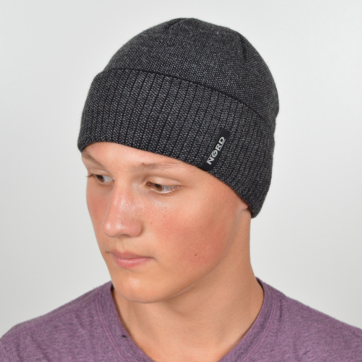 Мужская вязанная шапка NORD с отворотом черный + серый
