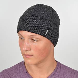 Мужская вязанная шапка NORD с отворотом черный + серый, фото 2