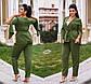 """Женский стильный брючный костюм в больших размерах 0106 """"Креп Кейп Запах"""" в расцветках, фото 4"""