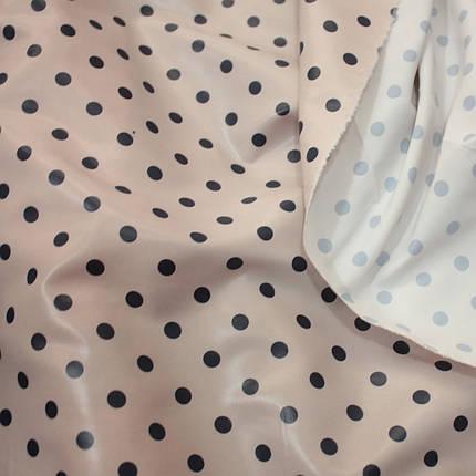 Плащевая ткань лаке принт горох на бежевом, фото 2