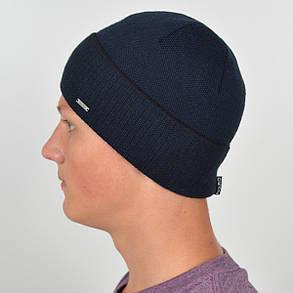 Мужская вязанная шапка NORD с отворотом синий + черный, фото 2
