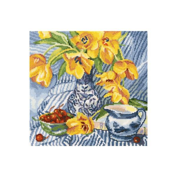 Набор для вышивки крестом RTO M504 «Натюрморт с тюльпанами»