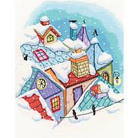 Набор для вышивки крестом RTO M655 «Зима на крышах»