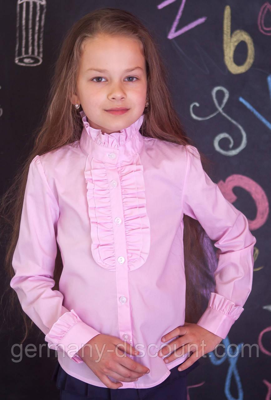 Шкільна блузочка зі стійкою мод.2037 у рожевому