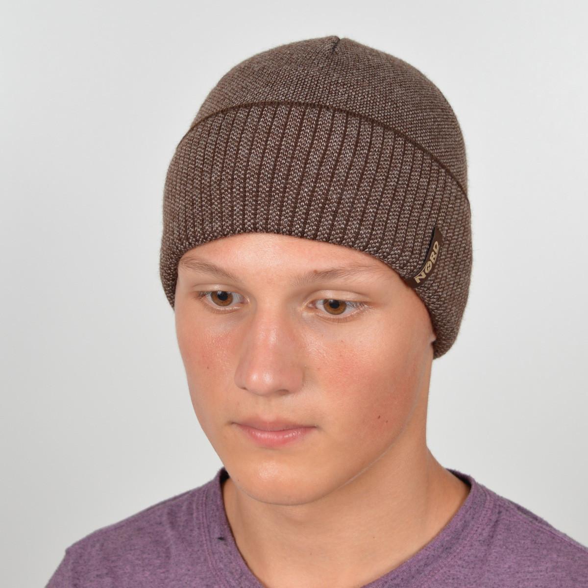 Мужская вязанная шапка NORD с отворотом беж + коричневый