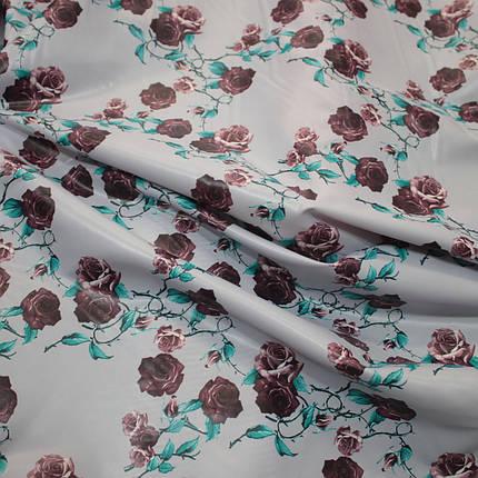 Плащова тканина лаку принт квіти на сірому, фото 2