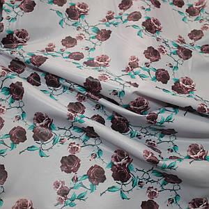Плащевая ткань лаке принт цветы на сером