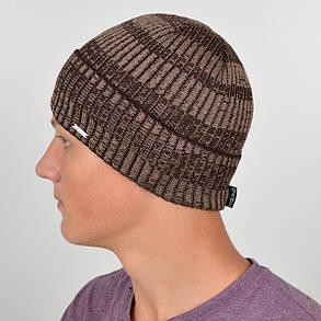 Мужская вязанная шапка NORD с отворотом коричневый меланж, фото 2
