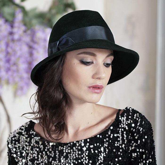 Женская фетровая шляпа с формой тулии под мужскую цвет черный