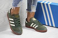 Кроссовки женские темно зеленые Adidas Hamburg 6028