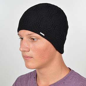 Мужская вязанная шапка на флисе Nord черный, фото 2