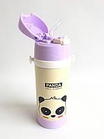 Дитячий термос с трубочкою - Панда (0,35 літра/сталевий)