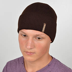 Мужская вязанная шапка NORD с отворотом коричневый, фото 2