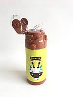 Дитячий термос с трубочкою - Жираф (0,35 літра/сталевий)