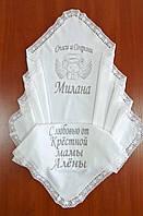 Крыжма махровая хлопковая для девочки 100 на 100 см, с натуральным кружевом, фото 1