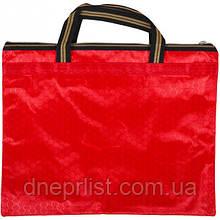 Сумка с карманом на молнии 36х30 см / красная