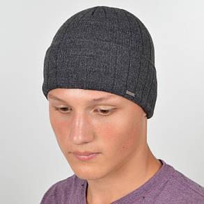 Мужская вязанная шапка на флисе Nord с отворотом серый, фото 2
