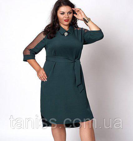 Ошатне ділове плаття з поясом, костюмка, рукав сітка, брошка у комплекті р. 50,52 бутыл (570)